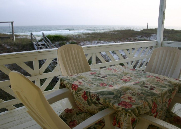 Ocean view dining or relaxing from lower deck