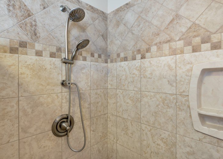 Master shower with removable adjustable lower shower head