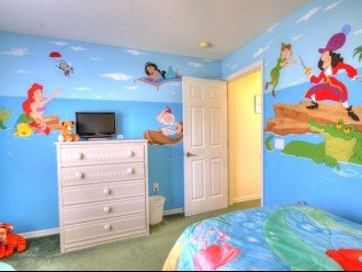 Twin Bedroom with Disney Murals. Changes of Bedding from Olaf, Princess etc,