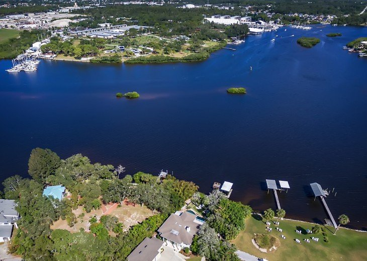 Aerial View of Dolphin Cove Villa and The Anclote River