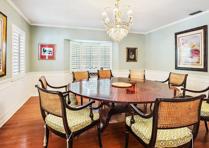 Grand dining room with seating for eight in style