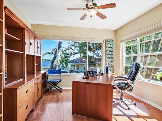 Poolside office space with views of the water