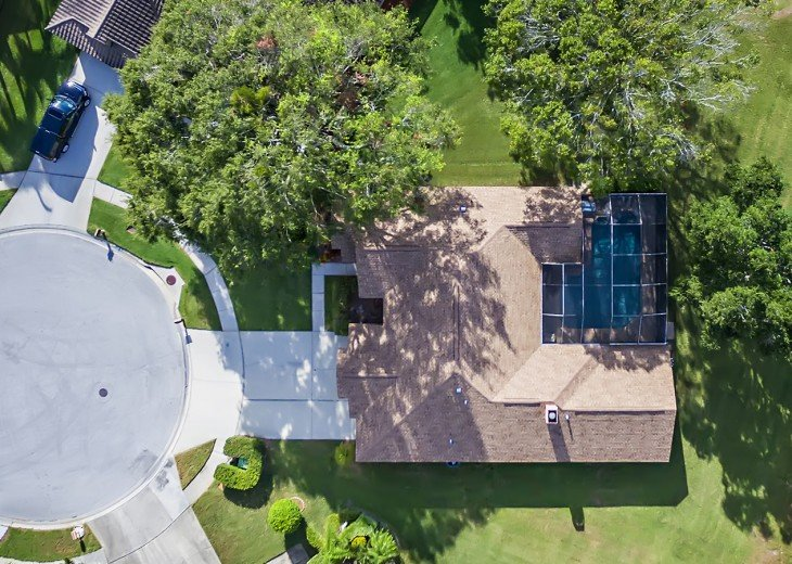 Aerial of the home. Brought to you by Florida Sun Vacation Rentals
