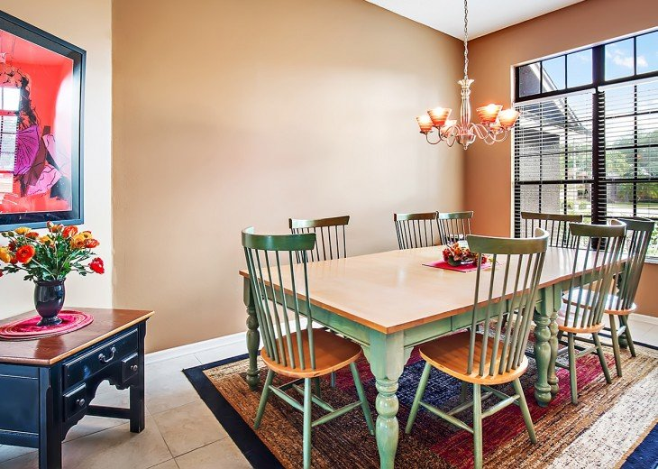 Dining room table with seating for up to ten