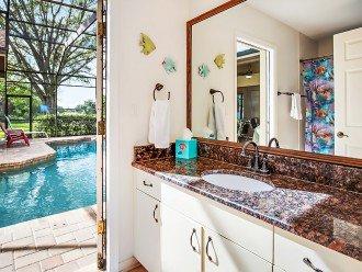 Poolside shared bathroom