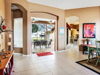 Open floor plan centrally located around pool area.