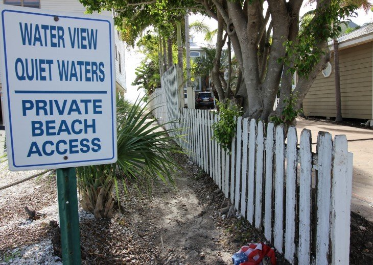 Your own private beach access right across the narrow two lane street