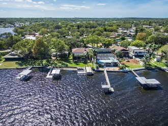 Aerial of wonderful Sunrise on Lake Tarpon by Florida Sun Vacation Rentals