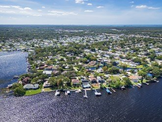 Aerial of lake Tarpon and Gulf of Mexico in the background
