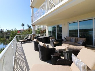 Large back deck with panoramic views of the inter coastal