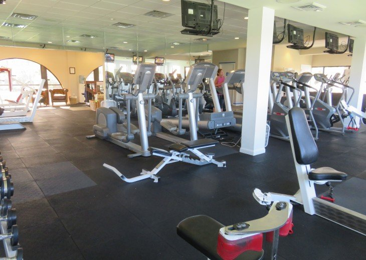Fitness center above The Club small fee for guests use