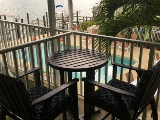 Private Bar Table & Chairs Overlooking Pool & Boca Ciega Bay