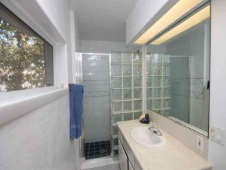 Master bath with glass block shower surround, large mirror and overhead light.