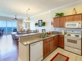 Kitchen, dinning area and living room overlooking gulf