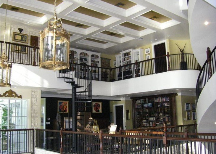 Second floor office and Third floor library