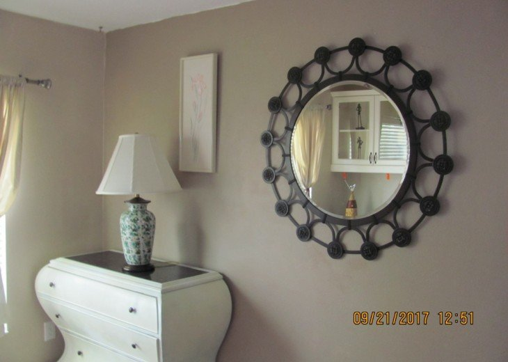 This modern dresser is in the guest bedroom with the Murphy bed. Cool, right?