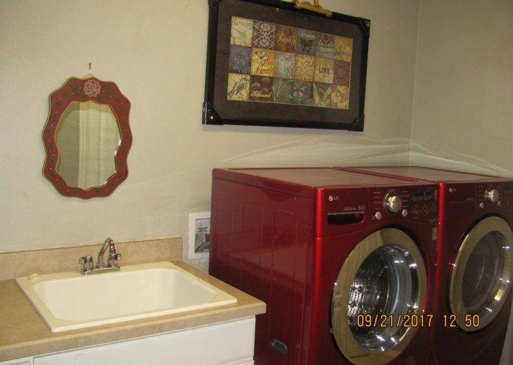 New and stylish washer and dryer. Plus deep sink. Nothing but the best.