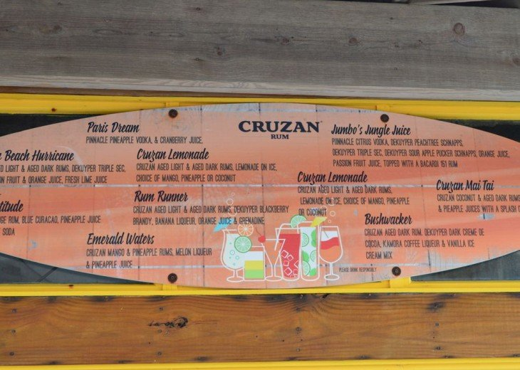 Tiki Bar Menu