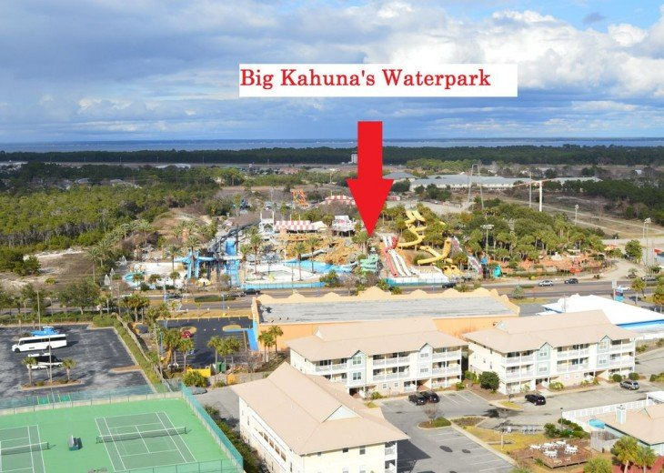 Pelican Beach is across the street from Big Kahuna's Waterpark!