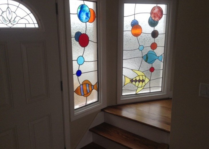 Front door with Stain glass thru out Villa