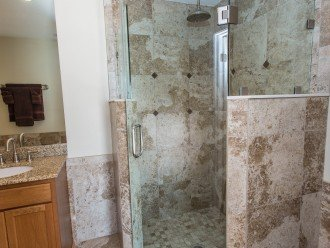 Glass walk in Shower in master with RAIN head/SOOTHING