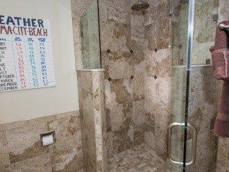 Walk in Glass Tile shower ALSO in Guest bedroom
