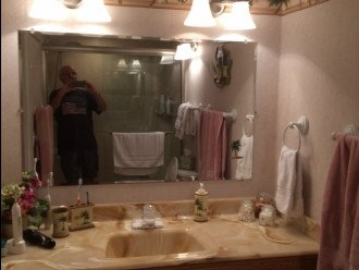 Master bath and me in the walk in shower.