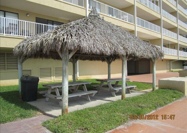 Tiki hut outside with 2 gas bbqs and 1 charcoal bbq