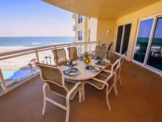 Balcony table with 6 high back chairs
