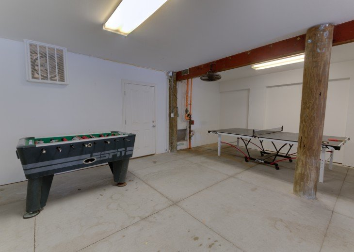 Ping Pong and Foosball in large 3 car garage
