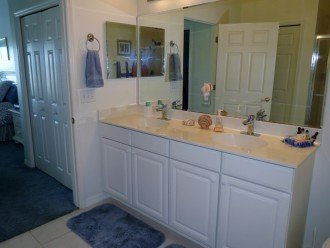 Master bathroom with twin sinks