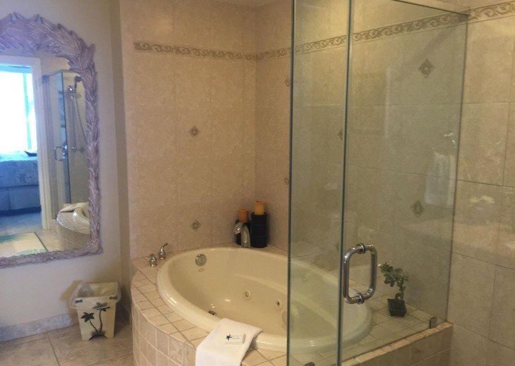 One of the two master bedrooms, has jetted tub.