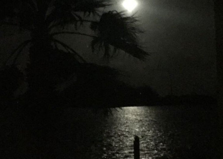Full moon over the water from the lanai