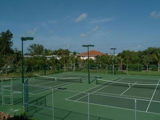 Two regulation lighted tennis courts.