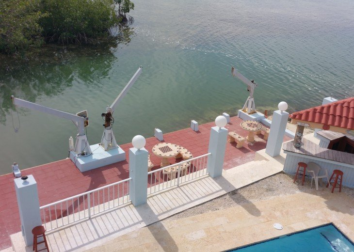 Dock, pool and gazebo