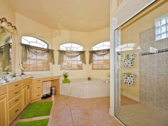 Very spacious Master bathroom with double sinks and walk in shower