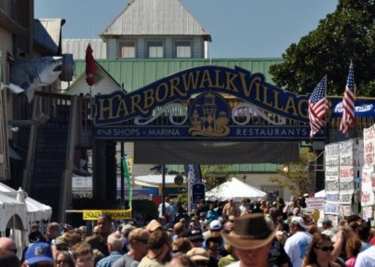 Summer anual seafood festival on the new milelong boardwalk