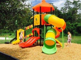 Community play area back of lake