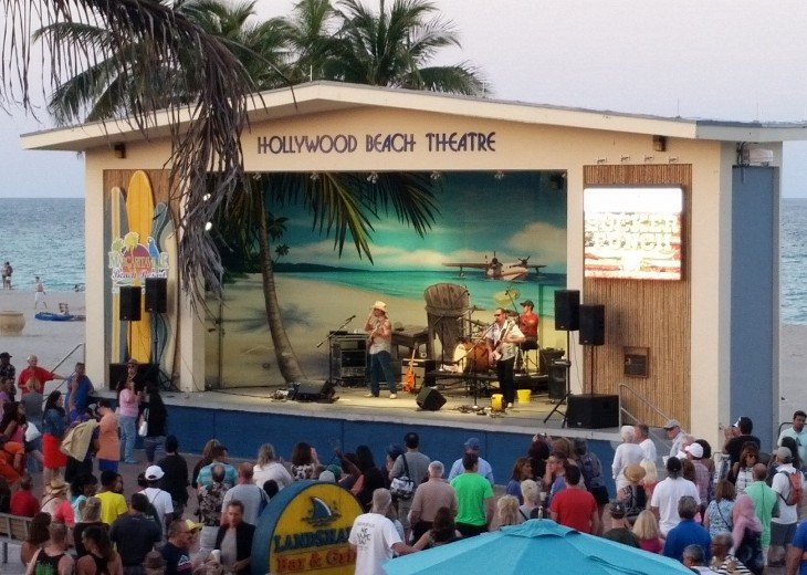 Free beach front concerts a short walk from condo