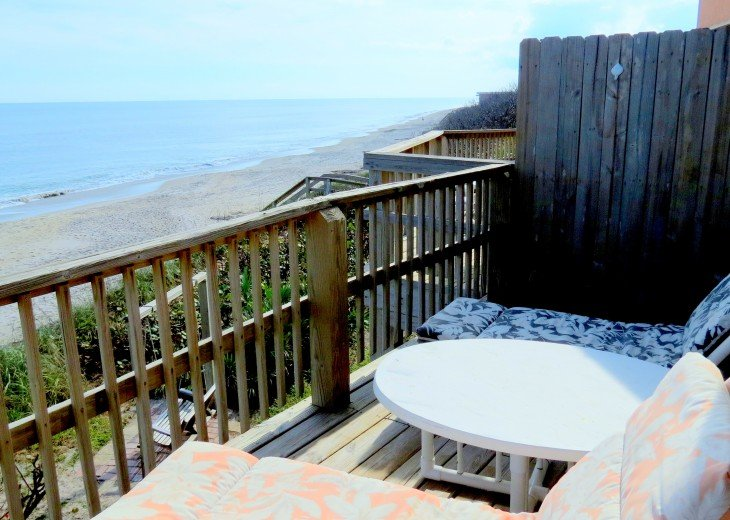 The view of the beach to the South from the deck.