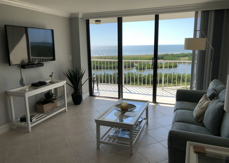 """Living Room with 55"""" Flat Screen TV, Bose Speaker and Great views of the Beach!"""