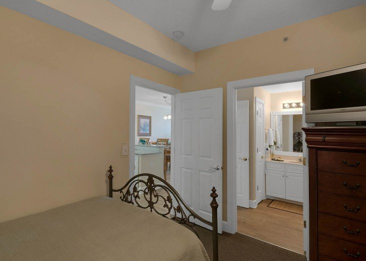 Guest bedroom has an adjoining, semi-private bathroom!