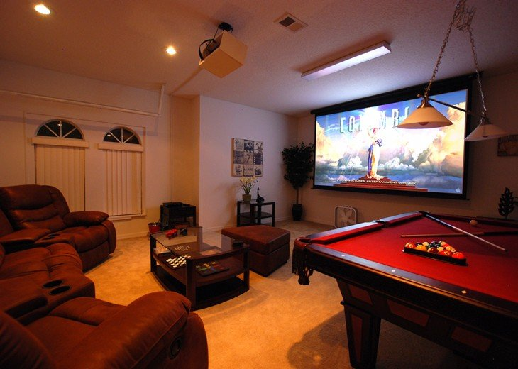 "Cinema/games room - includes PS4/7ft pool table/board game/125"" screen"