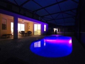 Pool and spa area - colour changing lights