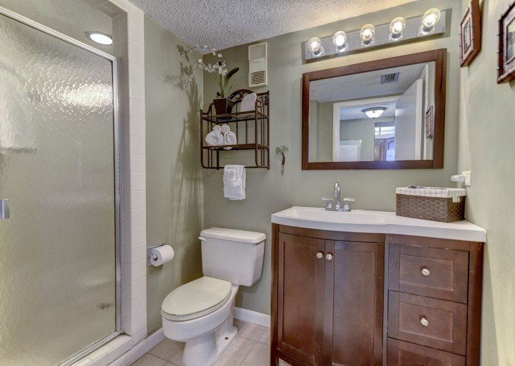Guest bath has walk in shower