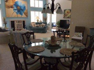 Dining table seats 6 - open floor plan