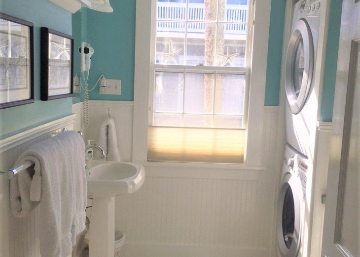 Guest Bathroom with Full Size LG Washer/Dryer