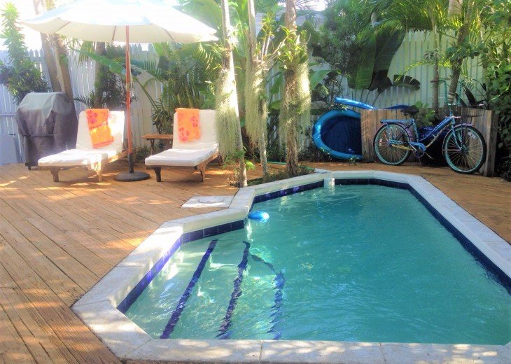 Heated Pool and Teak Loungers w/Market Umbrella