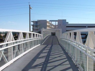 Elevated walkway connecting gulfside to bayside