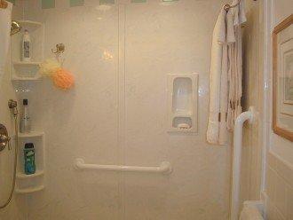 Marble walk-in shower.